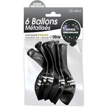 Lot de 6 ballons latex joyeux anniversaire noir