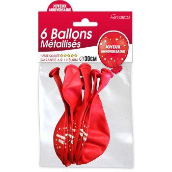 Lot de 6 ballons latex joyeux anniversaire rouge