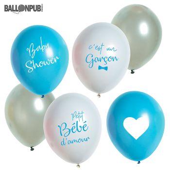 Lot de 6 ballons latex naissance garçon 33cm