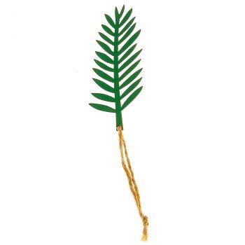Lot de 6 feuilles tropicale en bois vert 8x3cm