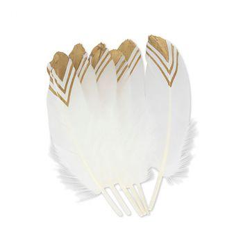 Lot de 6 plumes ethniques blanc et or 20cm