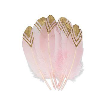 Lot de 6 plumes ethniques rose et or 20cm