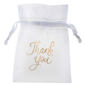 Lot de 6 sachets en coton Just married 10cm