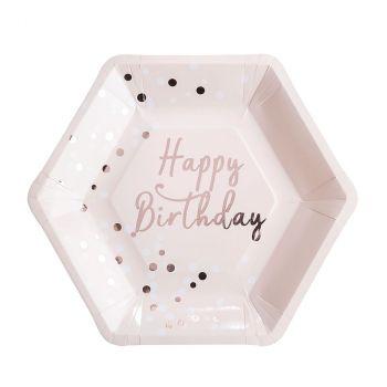 Lot de 8 assiettes anniversaire confetis  23cm
