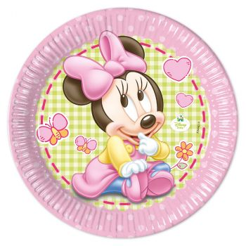 Lot de 8 assiettes Baby Minnie 23cm