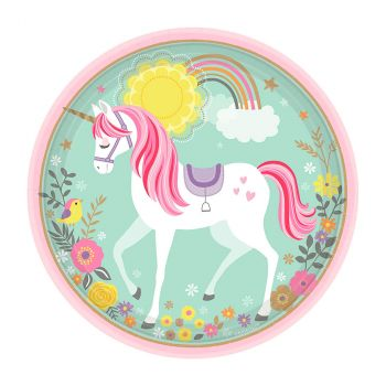 Lot de 8 assiettes unicorn