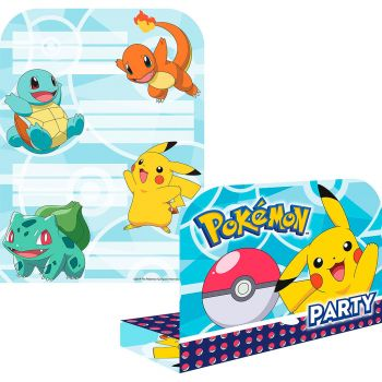 Lot de 8 invitations Pokémon