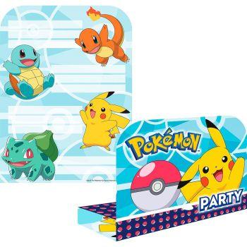 Lot de 8 invitations Pokémon
