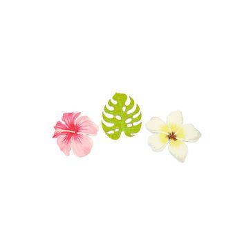 Lot de 9 confettis fleurs et feuilles bois