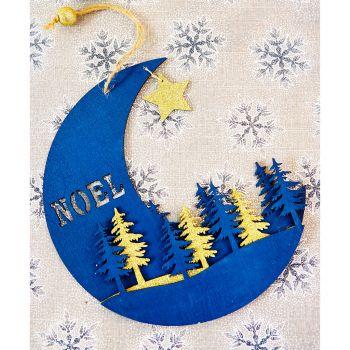 Lune bois H22cm bleu nuit or