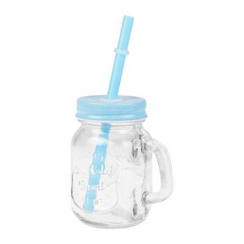 Mini bocal en verre avec paille bleu