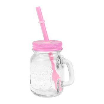 Mini bocal en verre avec paille rose