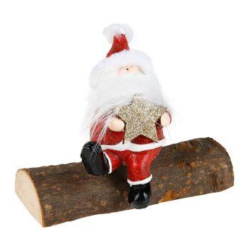 Père Noël sur tronc 11x9.5cm