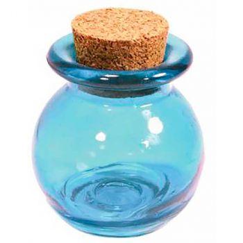 Pot dragées boule en verre bleu bouchon liège