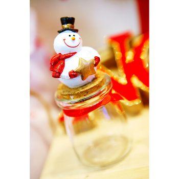Pot verre Bonhomme de neige rouge
