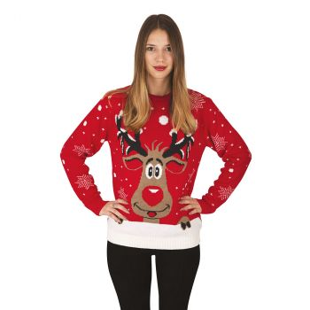 Pull Noël adulte rouge Renne taille XL