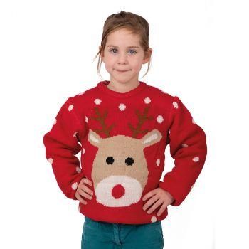 Pull Noël enfant rouge Renne taille L