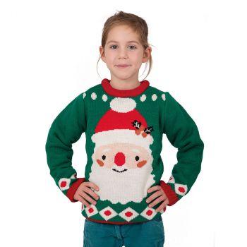 Pull Noël enfant vert Père Noël taille L
