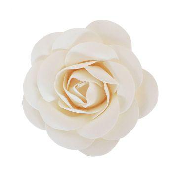 Rose en satin 8x3.5cm blanc