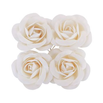 Rose en satin x4 blanc