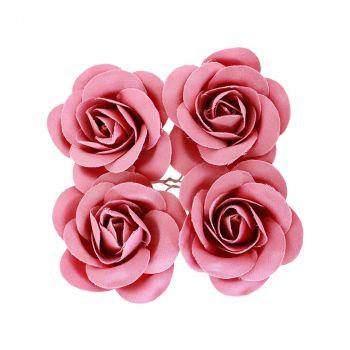 Rose en satin x4 fuchsia