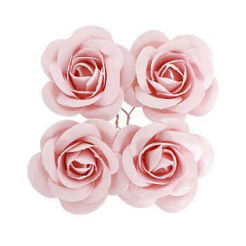 Rose en satin x4 rose pastel
