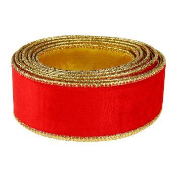 Ruban velours et métal or 40mmx10m rouge