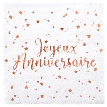 Serviettes 12cm x20 anniversaire blanc/rose gold