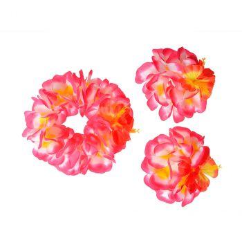 Set Hawai fleurs d'hibiscus rose