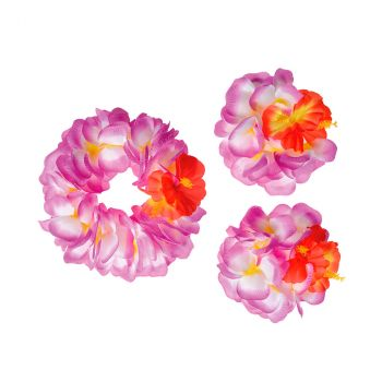Set Hawai fleurs d'hibiscus violet