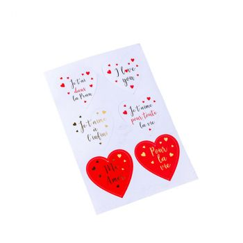 STICKERS COEUR AMOUR 5X5 X24