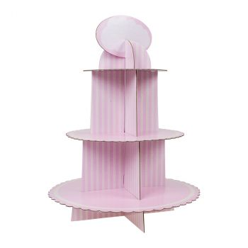 Support pour cakes 3 étages baby rose