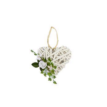 Suspension cœur rotin et fleurs blanc