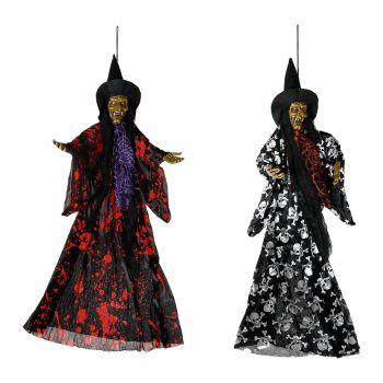 Suspension sorcière lumineuse halloween 85cm