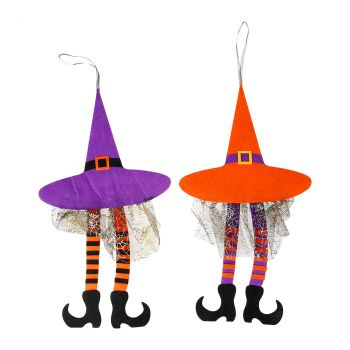 Suspension sorcière orange et violet halloween